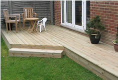 Timber decking extending living space into garden